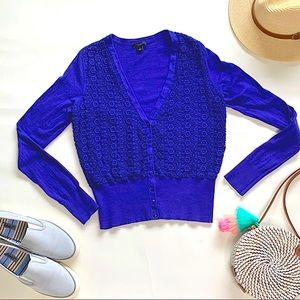 Ann Taylor Blue SM Floral Lace Overlay Cardigan